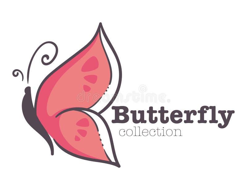 Van het de identiteitsmalplaatje van het vlinder de insect geïsoleerde embleem collectieve roze vleugels royalty-vrije illustratie
