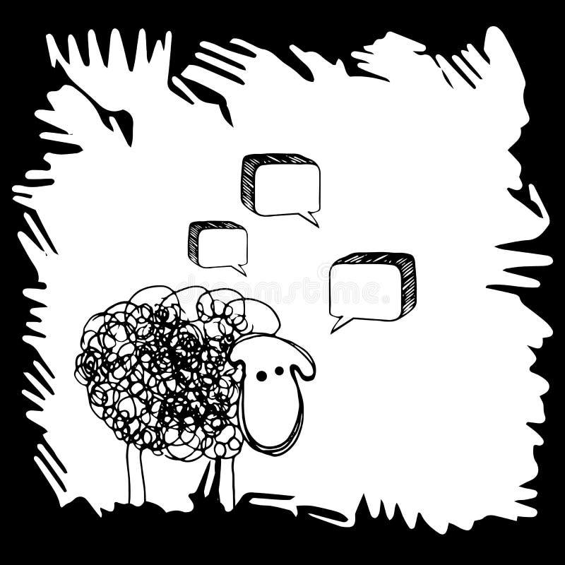 Van het de illustratie leuke landbouwbedrijf van lamsschapen de vector dierlijke van het de wolzoogdier witte aard stock illustratie