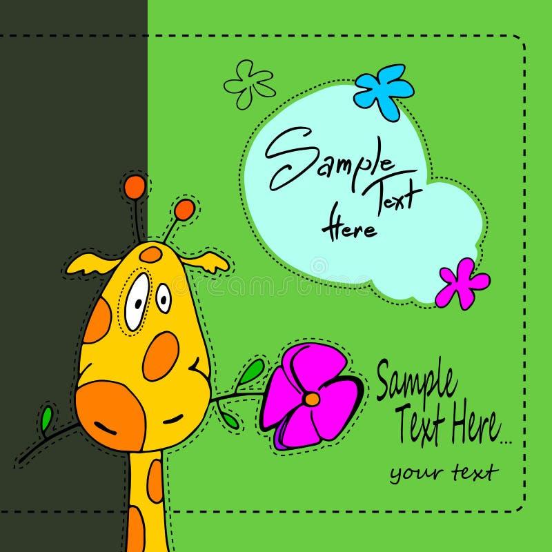 Van het de illustratiebeeldverhaal van de giraf leuke baby van de de dierentuinkunst dierlijke grappige de pretsafari vector illustratie