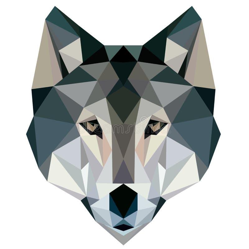 Van het de illustratiegezicht van het wolfs laag polyontwerp geometrisch dierlijk het embleempictogram
