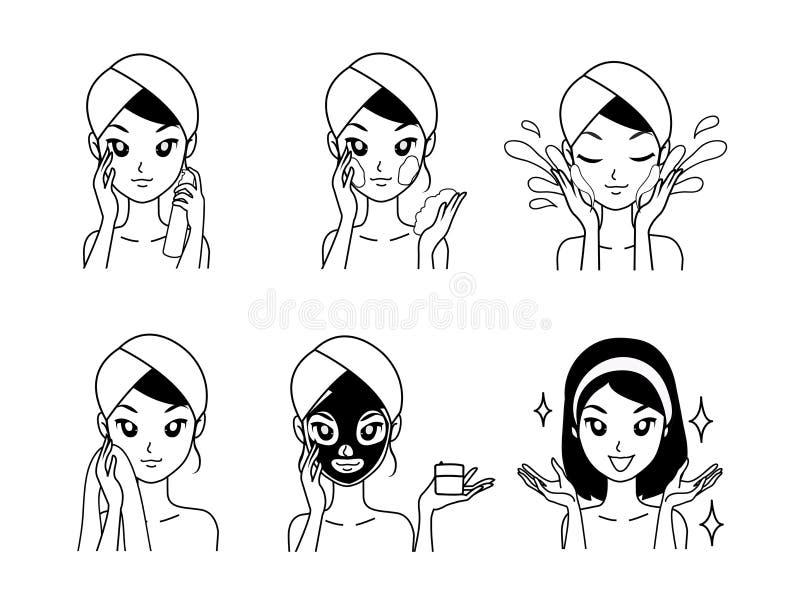 Van het de illustratiemasker van de pictogramtekening de behandelingsmeisje stock illustratie