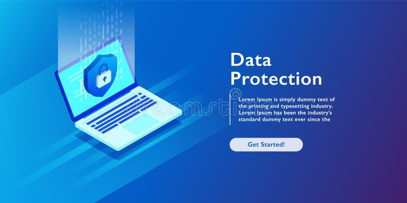 Van het de Informatieslot van de veiligheidsgegevensbescherming digitale de technologie isometrische vectorillustratie royalty-vrije illustratie