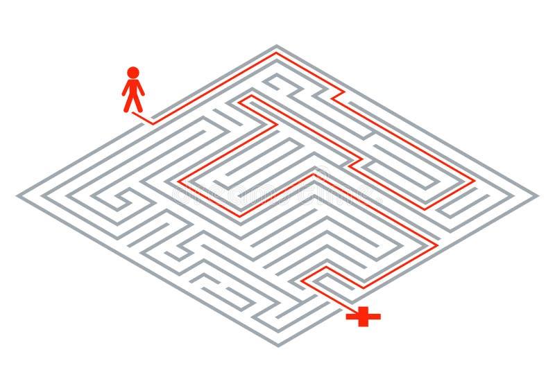 Van het de ingewikkeldheidslabyrint van de pasmanier van het het labyrint 3d ontwerp isometrische het malplaatje vectorillustrati stock illustratie