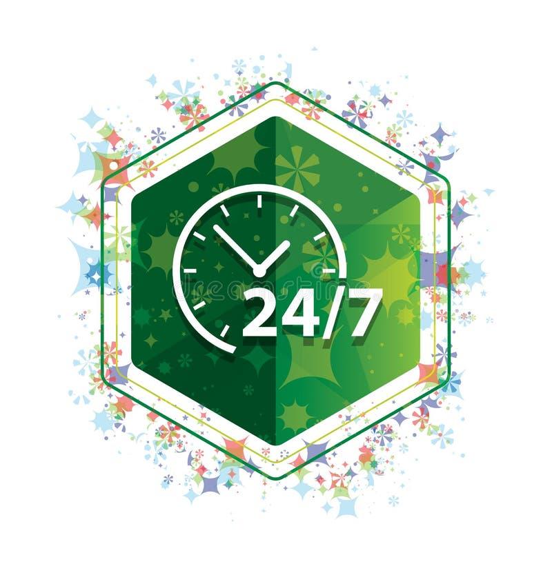 24/7 van het de installatiespatroon van het klokpictogram bloemen groene hexagon knoop stock illustratie
