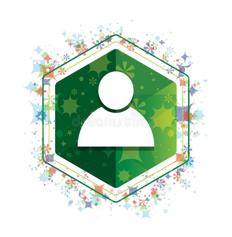 Van het de installatiespatroon van het persoonspictogram de bloemen groene hexagon knoop stock illustratie