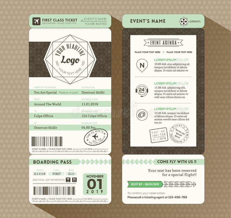 Van het de Instapkaartkaartje van het Hipsterontwerp de Gebeurtenisuitnodiging vector illustratie