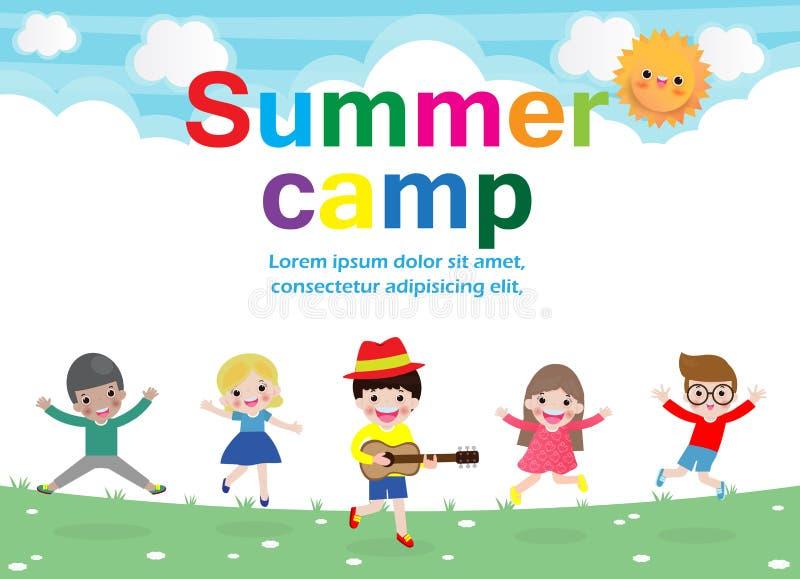 Van het de jonge geitjesonderwijs van het de zomerkamp het conceptenmalplaatje voor reclamefolder, activiteiten op het kamperen a royalty-vrije illustratie