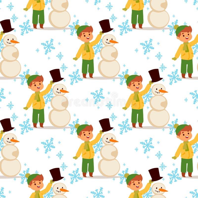 Van het de jongens vectorkarakter van het Kerstmisjonge geitje van de winterspelen speel van de winterkinderen van de vakantieker stock illustratie