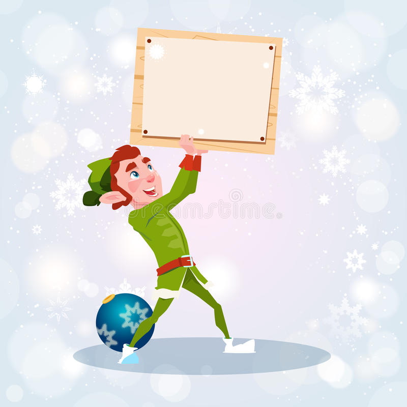 Van het de Jongensbeeldverhaal van het Kerstmiself van het Karaktersanta helper hold empty sign de Raadsbanner vector illustratie