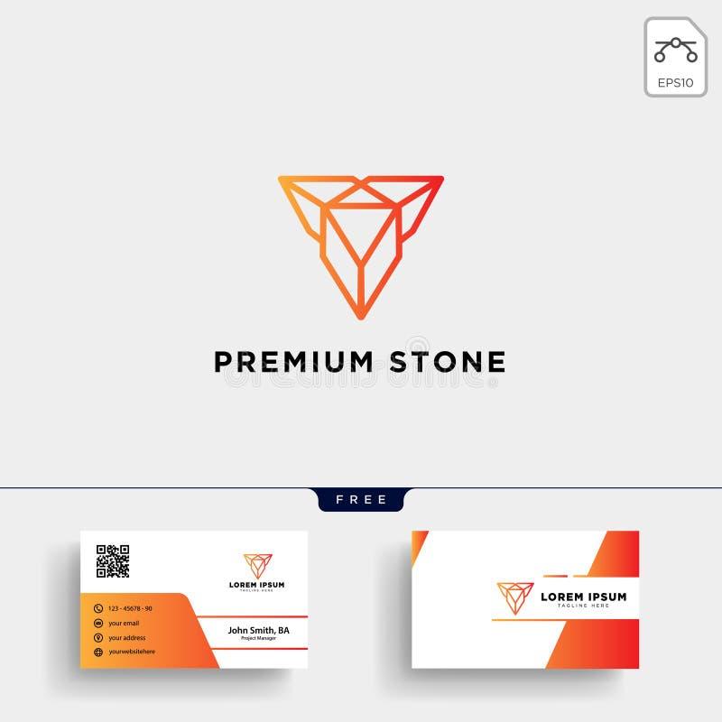 van het de juwelenembleem van de diamantsteen het malplaatje en het adreskaartjeontwerp vector illustratie
