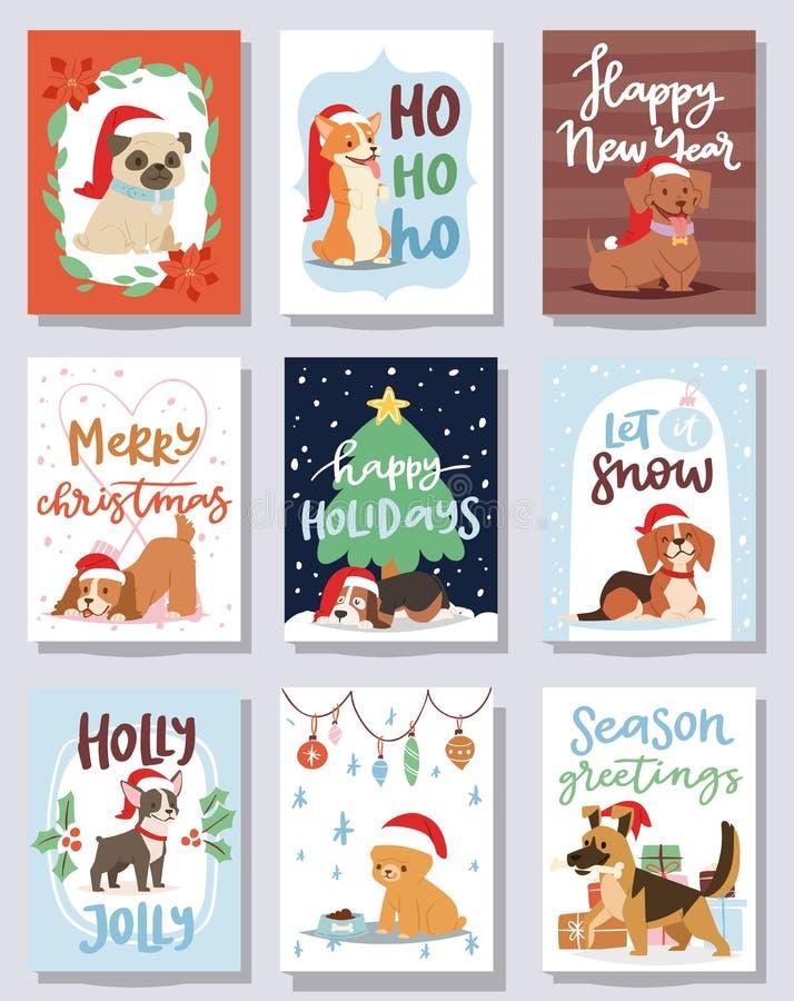 Van het de kaart vector leuke beeldverhaal van de Kerstmis 2018 hond van het puppykarakters van het de illustratiehuis van de hui royalty-vrije illustratie