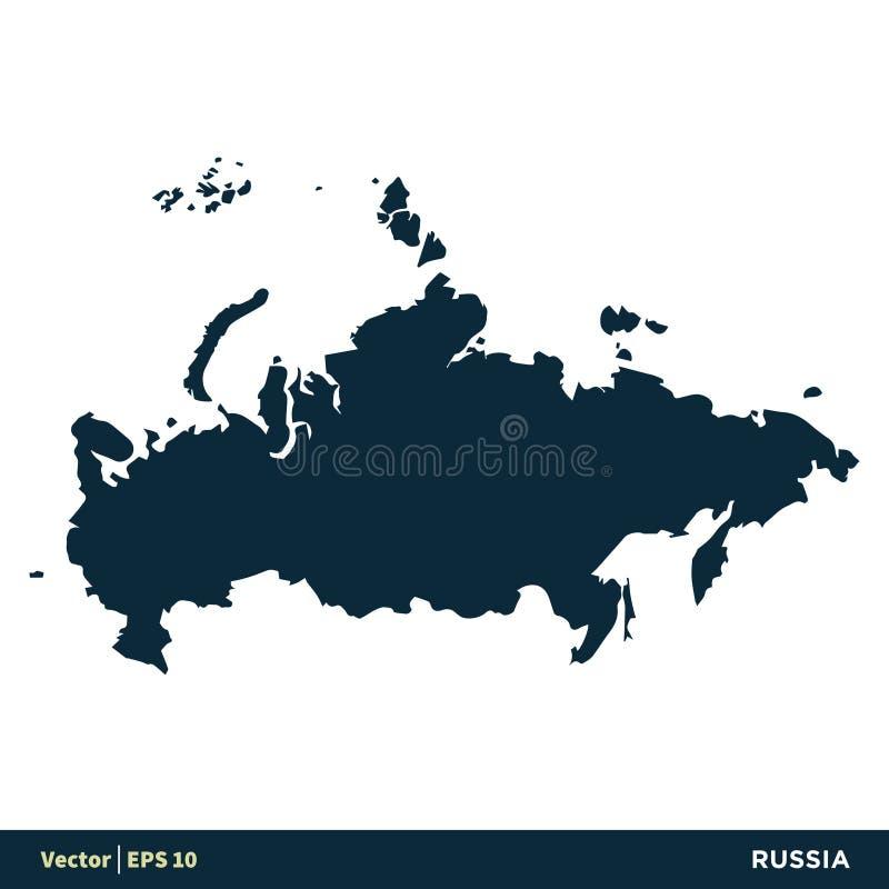 Van het de Kaart het Vectorpictogram van de Landen van Rusland - van Europa Ontwerp van de het Malplaatjeillustratie Vectoreps 10 stock illustratie