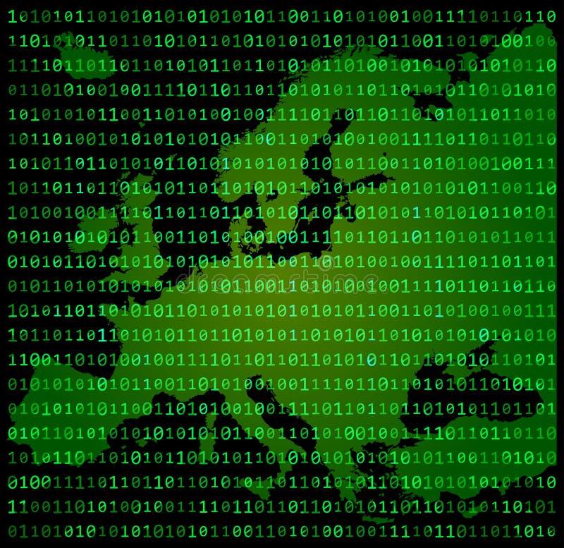 Van het de kaartconceptontwerp van binaire codeeuropa groene de matrijsachtergrond royalty-vrije illustratie