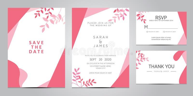 Van het de kaartmalplaatje van de huwelijksuitnodiging de vectorillustratie De reeks van kaart met bloem nam, bladeren toe De blo royalty-vrije stock foto