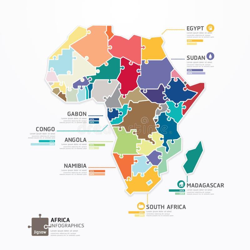 Van het de Kaartmalplaatje van Afrika Infographic de banner van het de figuurzaagconcept. vector. vector illustratie