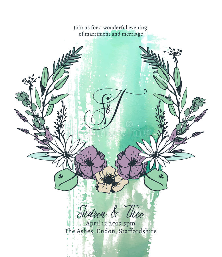Van het de kaartmalplaatje van de huwelijksuitnodiging de vectorillustratie stock illustratie