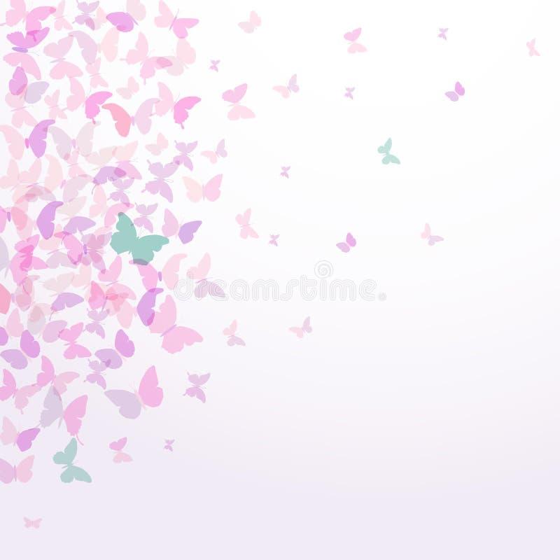 Van het de kaartontwerp van de de lentezomer de Kleurrijke roze die vlinders op witte achtergrond worden geplaatst Vector stock illustratie