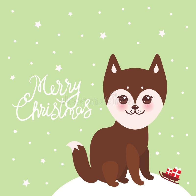 Van het de kaartontwerp van het vrolijke Kerstmisnieuwjaar de grappige bruine schor hond, Kawaii-gezicht met grote ogen en roze w stock illustratie