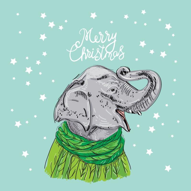 Van het de kaartontwerp van het vrolijke Kerstmisnieuwjaar de Olifantshoofd met een opgeheven boomstam in een gebreide sweater en royalty-vrije illustratie