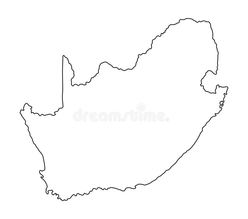 Van het de kaartoverzicht van Zuid-Afrika de vectorillustratie vector illustratie