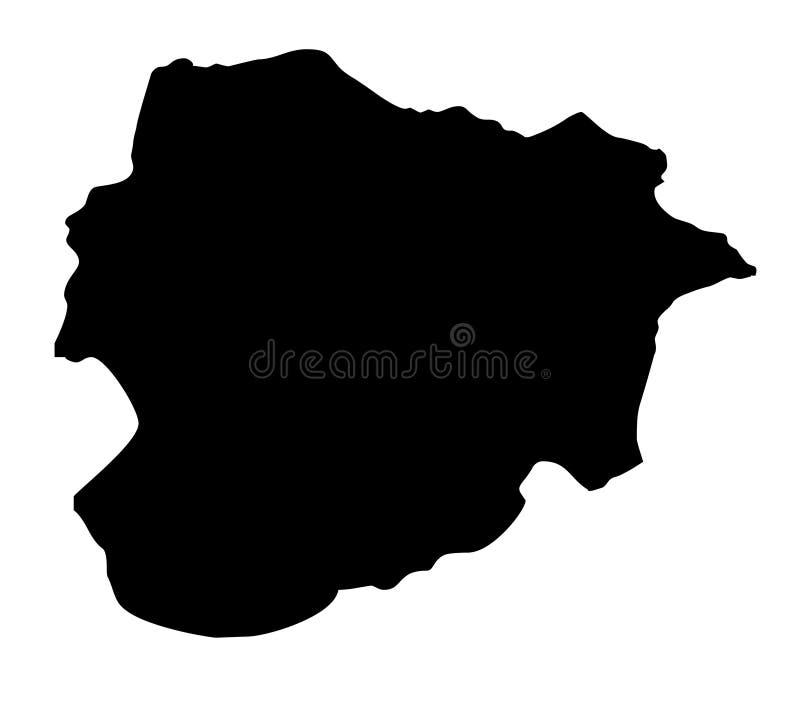 Van het de kaartsilhouet van Andorra de vectorillustratie vector illustratie