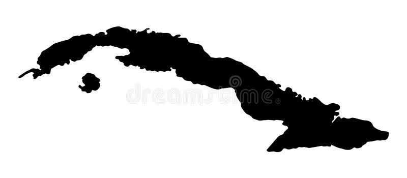 Van het de kaartsilhouet van Cuba de vectorillustratie stock illustratie