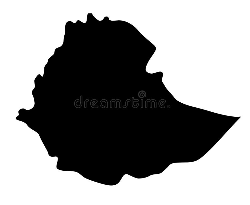 Van het de kaartsilhouet van Ethiopië de vectorillustratie vector illustratie