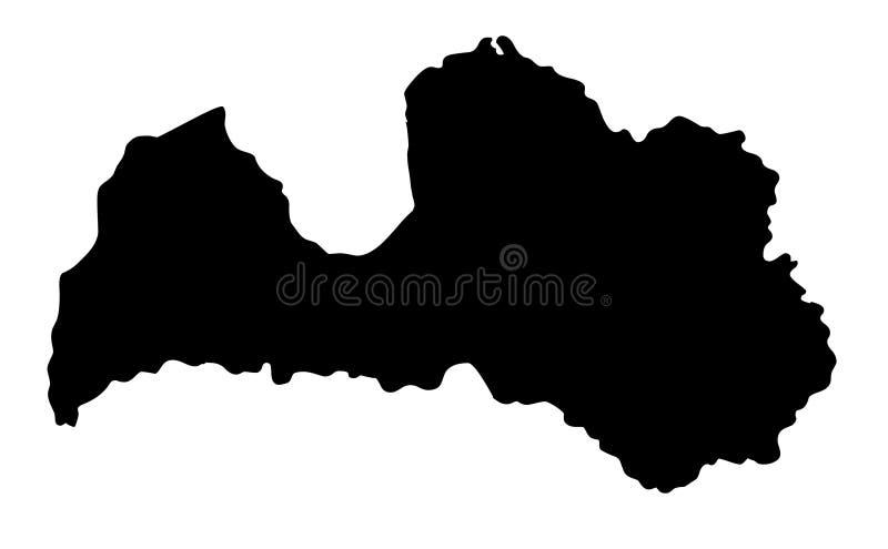 Van het de kaartsilhouet van Letland de vectorillustratie stock illustratie