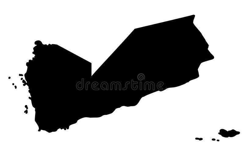 Van het de kaartsilhouet van Yemen de vectorillustratie stock illustratie