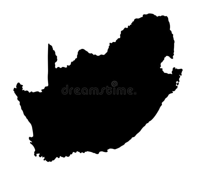 Van het de kaartsilhouet van Zuid-Afrika de vectorillustratie vector illustratie