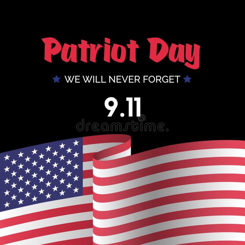 Van het de kaartverstand van de patriotdag de vector Amerikaanse vlag stock illustratie