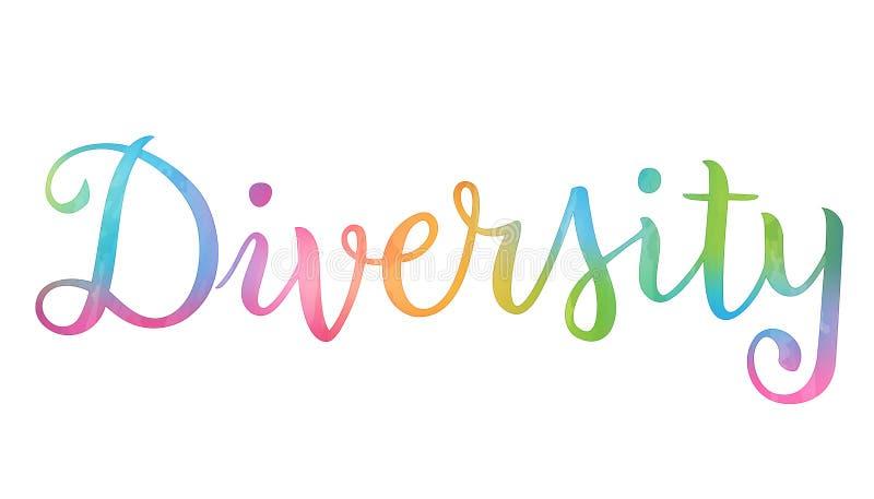 Van het de kalligrafieconcept van de waterverfborstel het woorddiversiteit vector illustratie