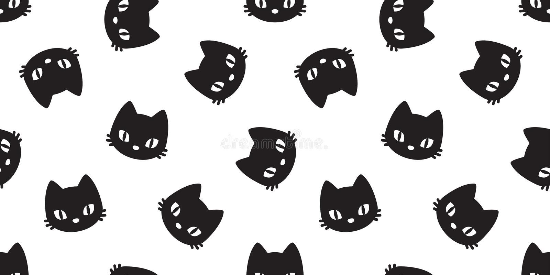 Van het de katten hoofd vectorkatje geïsoleerd behang van het katten naadloos patroon wit als achtergrond royalty-vrije illustratie