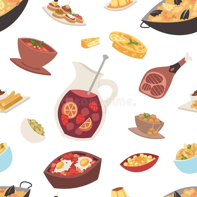 Van het de keuken vectorvoedsel van Spanje van de het koken traditionele schotel het recepten Spaanse snack stock illustratie