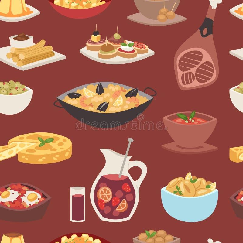 Van het de keuken de vectorvoedsel van Spanje van de het koken traditionele schotel van de het recepten Spaanse snack van het tap stock illustratie