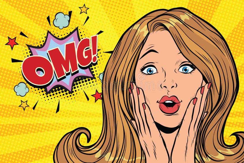 Van het de kitschpop-art van OMG de betoverende blonde vrouw vector illustratie