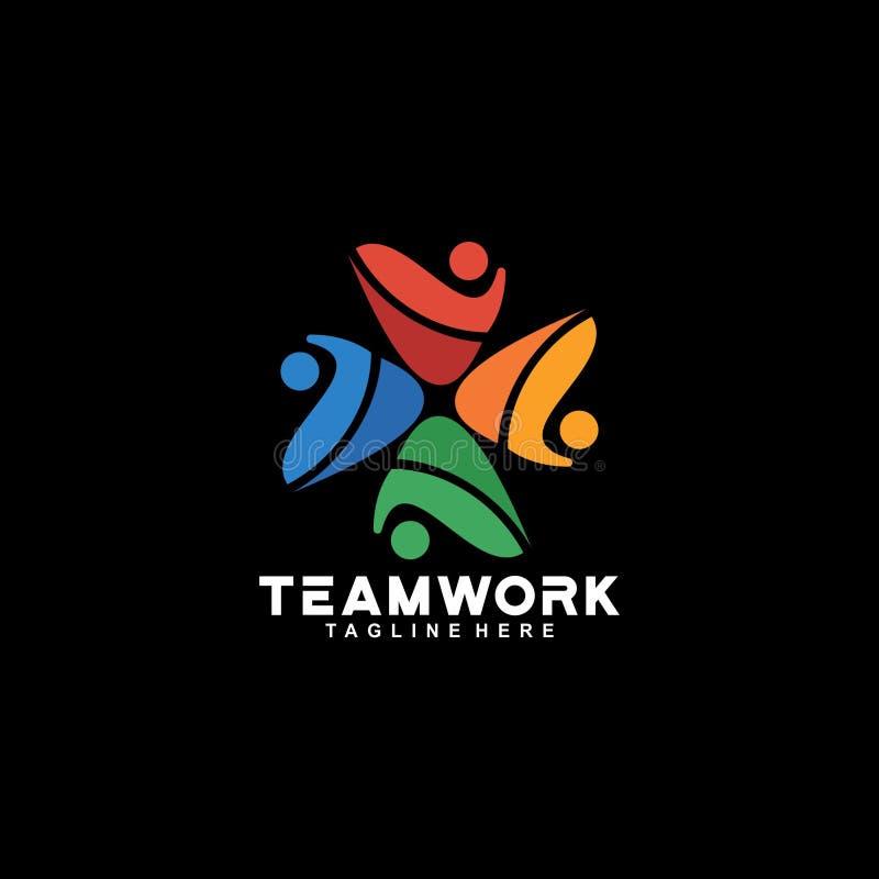 Van het de kleurenembleem van het teamwerk het sociale volledige vectorontwerp vector illustratie