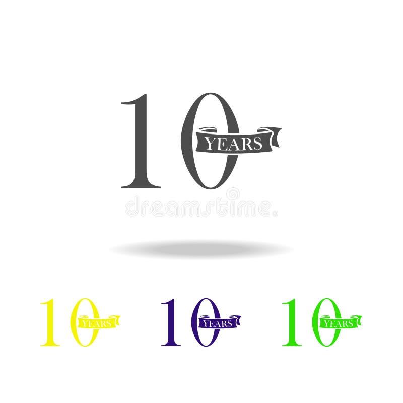 10 van het de kleurenjaar pictogram van het verjaardagsteken Element van de kleurenpictogram van het verjaardagsteken Tekens en s royalty-vrije illustratie