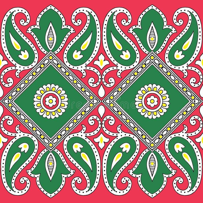 Van het de kleurenontwerp van Paisley naadloze Bloemen het patroongrens vector illustratie