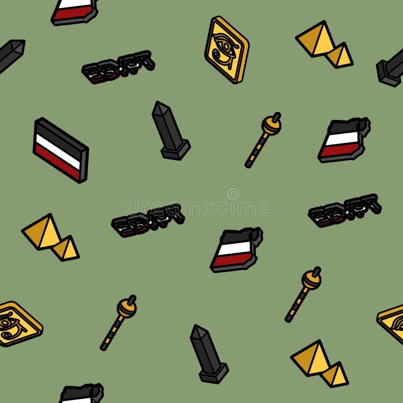 Van het de kleurenoverzicht van Egypte het isometrische patroon stock illustratie