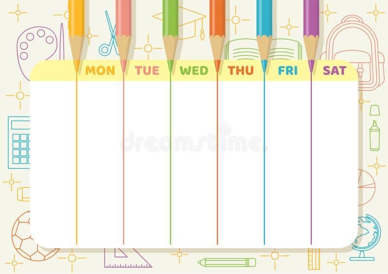 Van het de kleurenpotlood van het schooltijdschema de tekeningslijnen royalty-vrije stock afbeelding