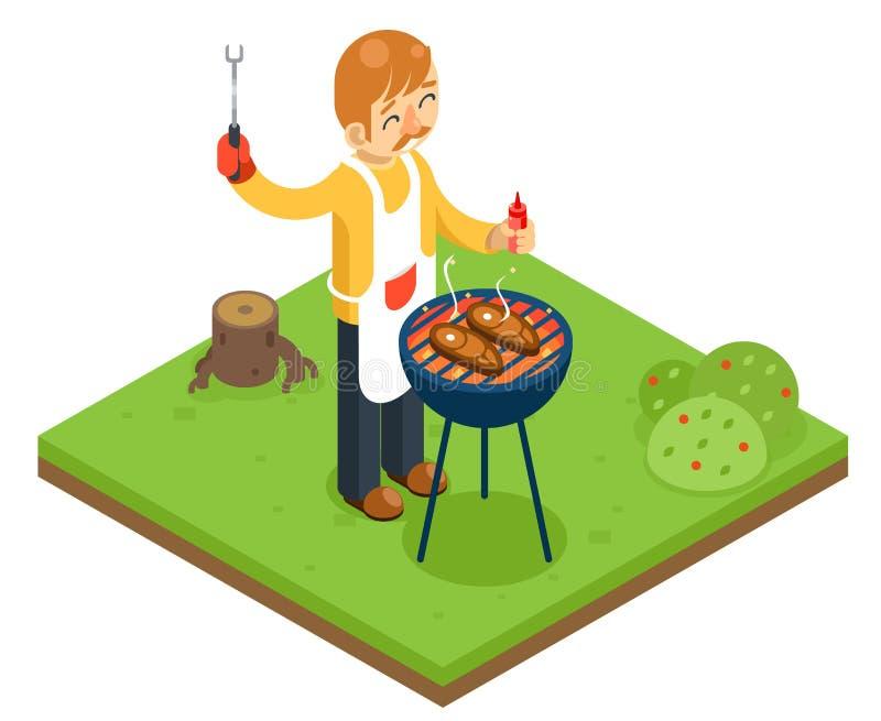 Van het de kokvlees van de barbecuemens van de het lapje vleesaard bos isometrische vlakke het ontwerp vectorillustratie royalty-vrije illustratie