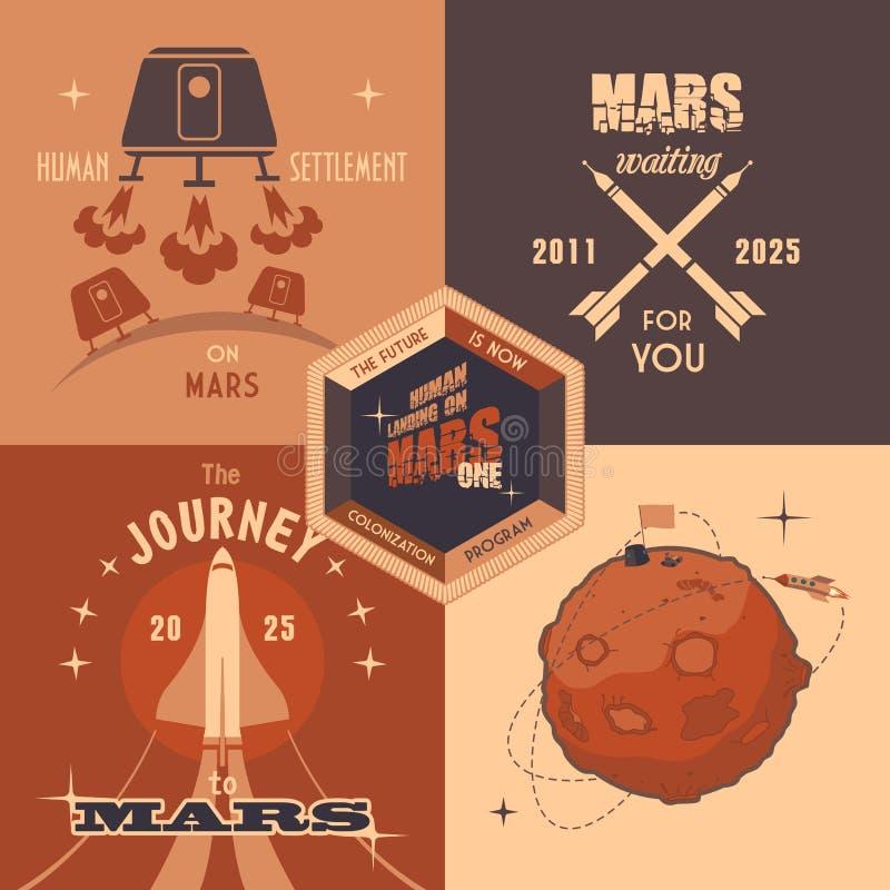 Van het de kolonisatieprogramma van Mars vlakke het ontwerpetiketten stock illustratie