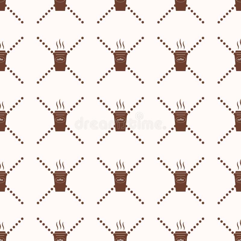 Van het de kop de Abstracte Geometrische Behang van de patroonkoffie Vectorillustratie Achtergrond Rebecca 36 Op witte achtergron stock illustratie