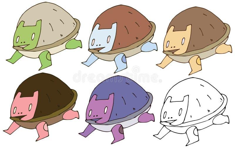 Van het de krabbelmonster van het drukbeeldverhaal van de de schildpadkleur trekt de vastgestelde hand grappige gelukkig stock illustratie