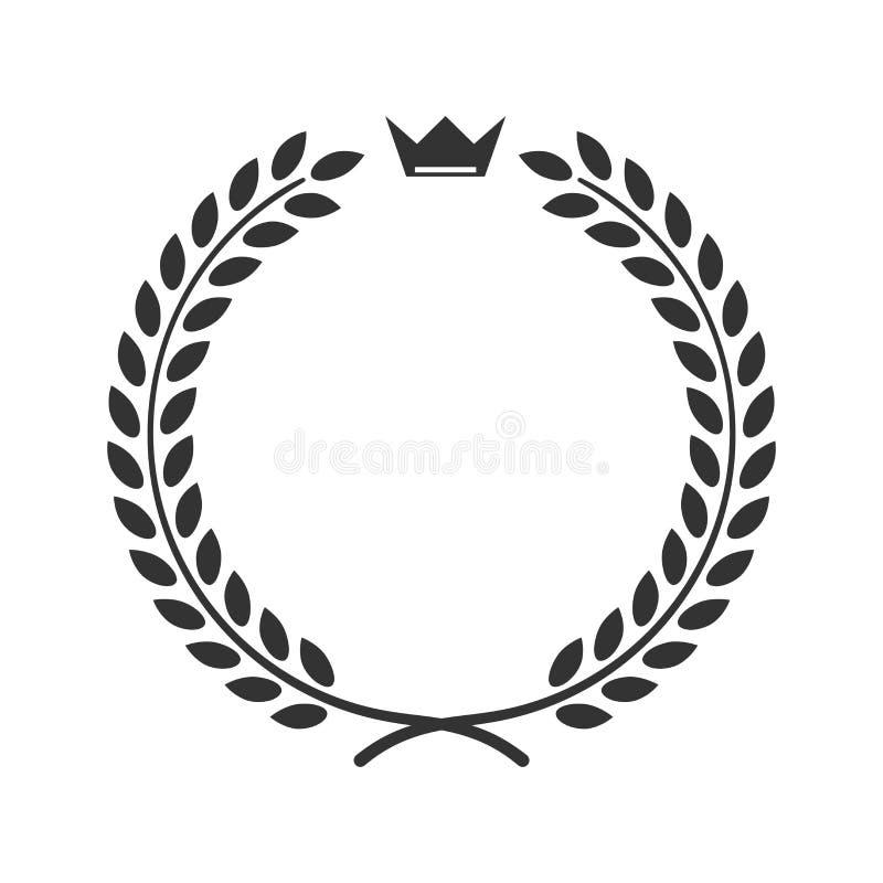 Van het de kroonsymbool van de lauriertarwe het pictogram van de de overwinningsvoltooiing stock illustratie