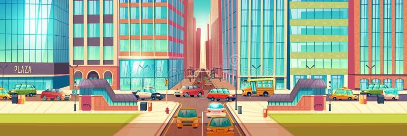 Van het de kruisingsbeeldverhaal van stadswegen de vectorachtergrond royalty-vrije illustratie
