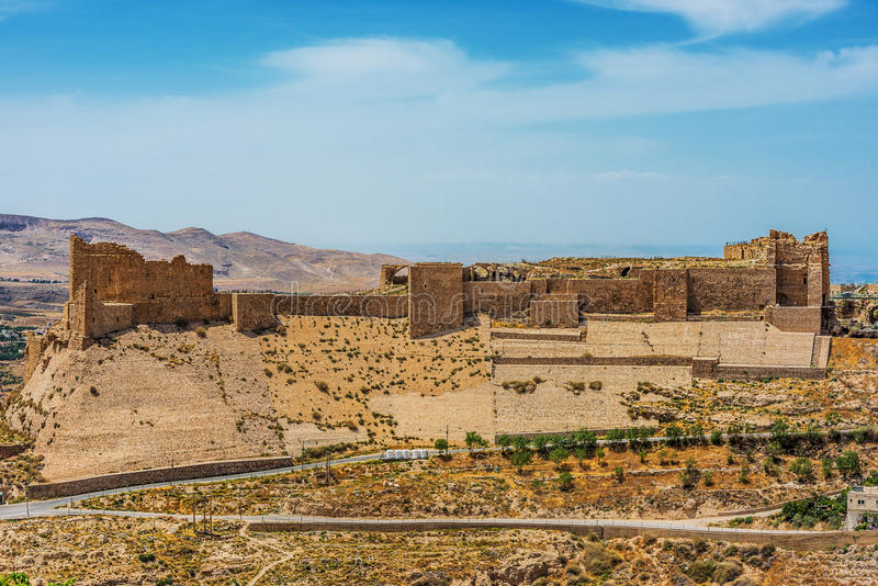 Van het de kruisvaarderkasteel van Al Karak kerak de vesting Jordanië royalty-vrije stock afbeeldingen