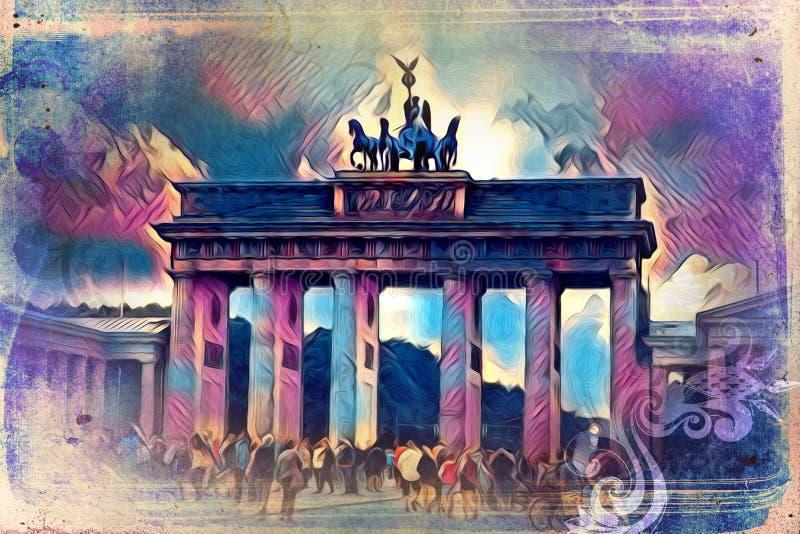 Van het de kunstontwerp van Berlijn de illustratie retro wijnoogst stock illustratie