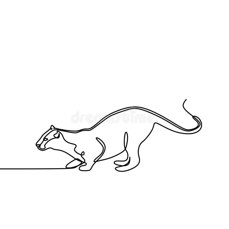 Van het de kunstontwerp van de tijger de ononderbroken lijn vectorillustratie royalty-vrije illustratie